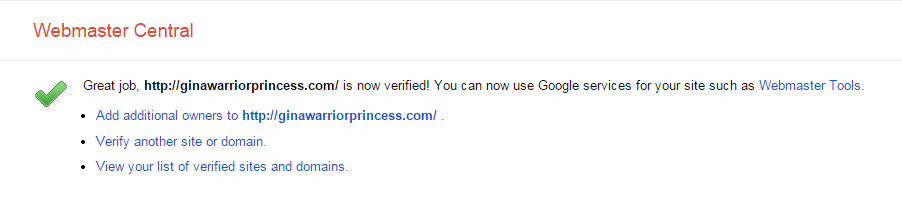 Website verified confirmation