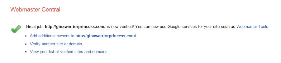 Website verified confirmation
