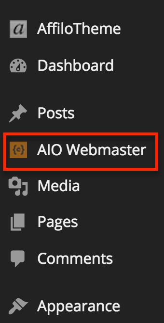 AIO Webmaster - Dashboard Wordpress