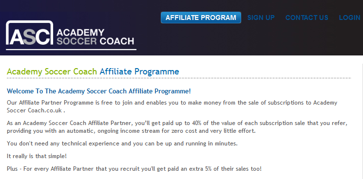 Academy Soccer Coach - Soccer Affiliate Programs
