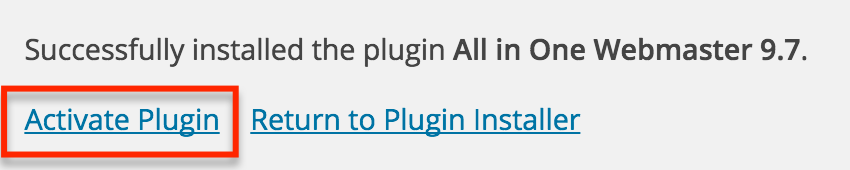 Activate All In One Wordpress Plugin