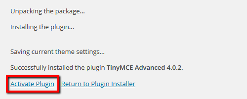 Activate Plugins - TinyMCE