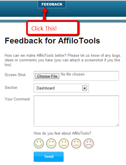 affilotools feedback button