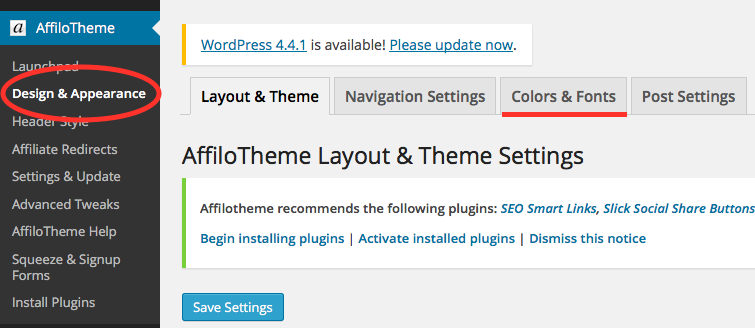 Affilotheme Design and Appearance Color
