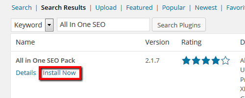 All In One SEO - Install