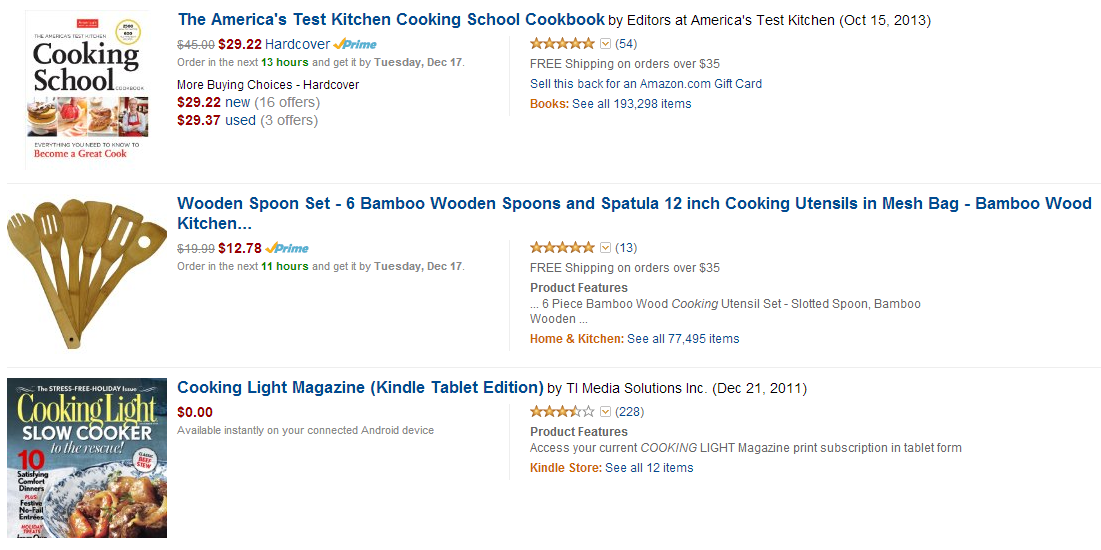 Amazon.com Cooking Affiliate Products