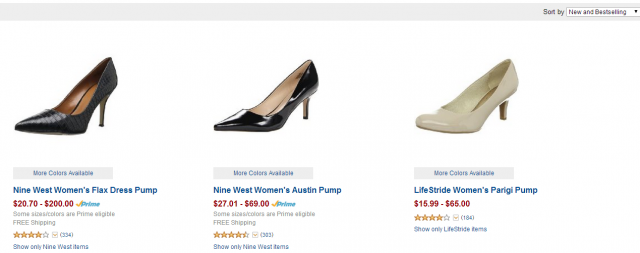 Searching for shoes on Amazon