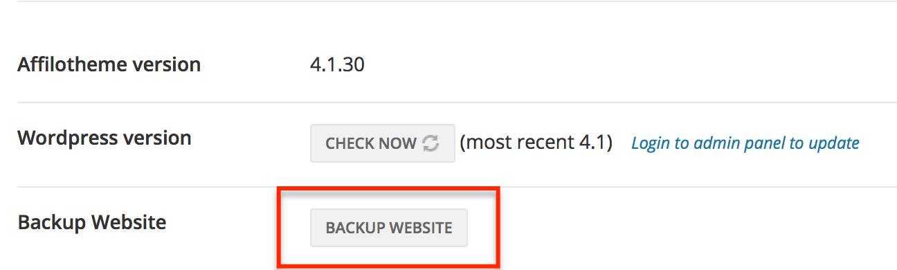 Backup Website Button