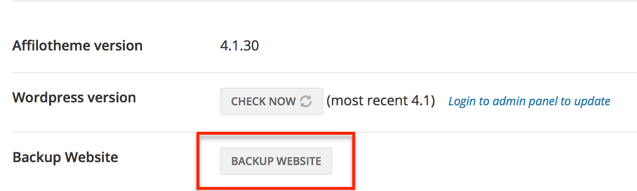 Backup Website Button