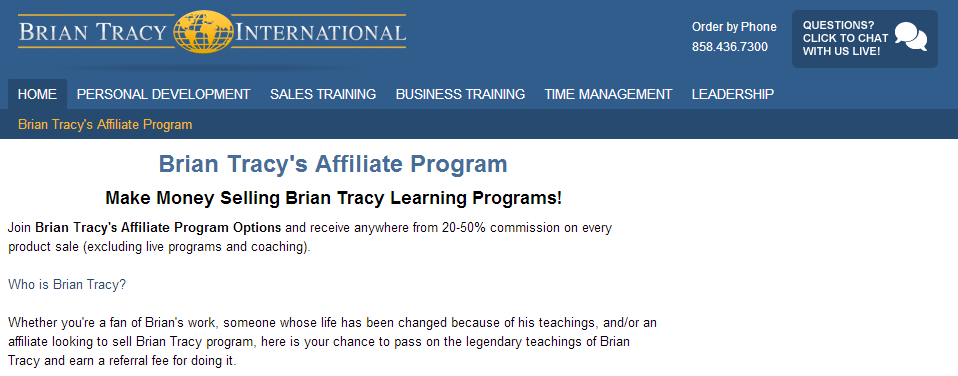 Brian Tracy Affiliate Program