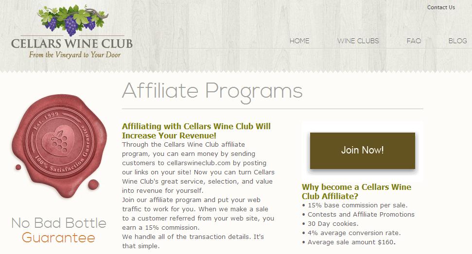 Cellars Wine Club - Wine Affiliate Programs