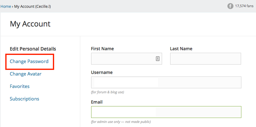 Change Password Button - Affilorama Account