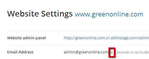 Change Email Address Button