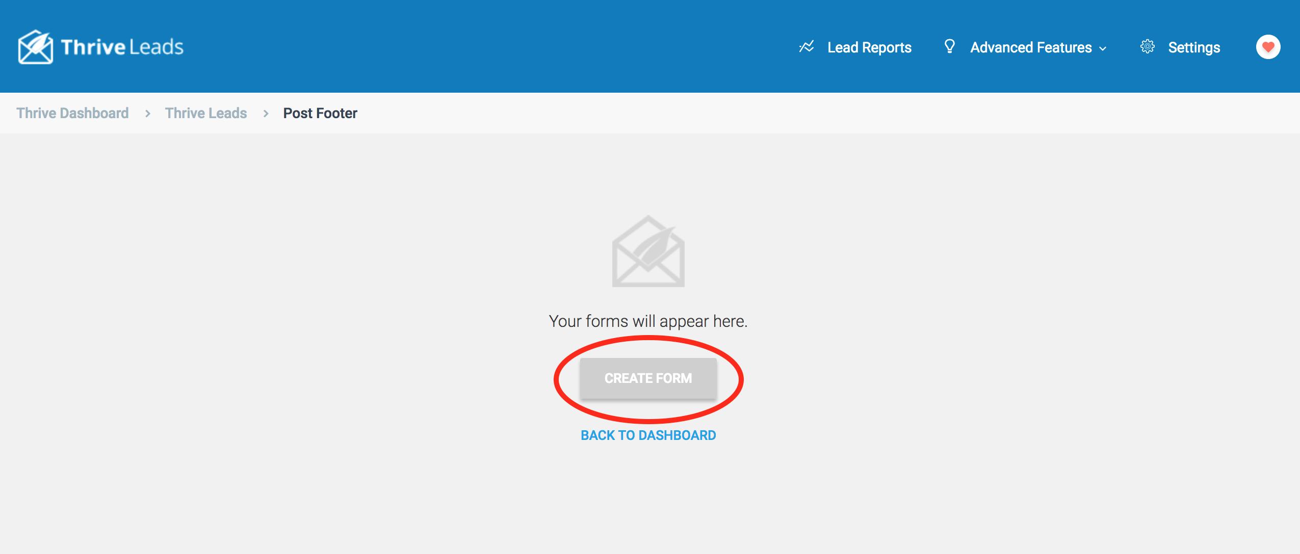 Grey Create Form Button - Thrive FAQ