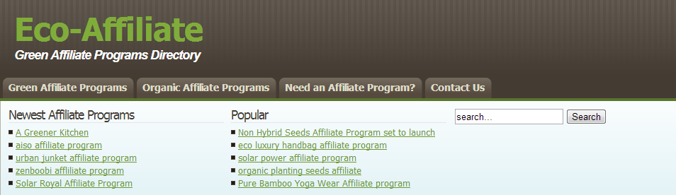 Eco-Affiliate - Green Affiliate Programs Directory