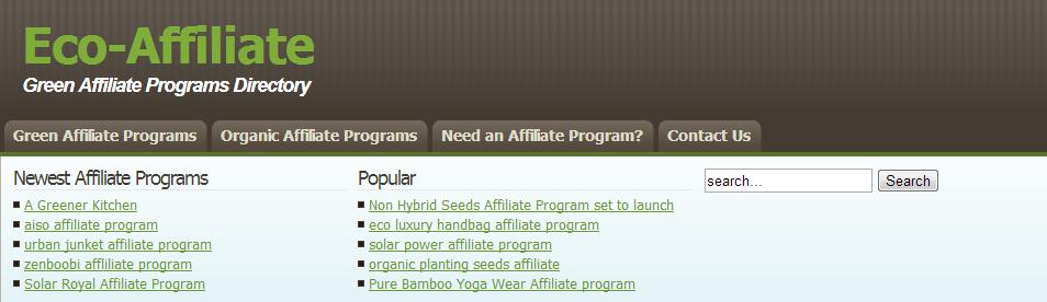 Eco-Affiliate - Green Affiliate Programs Directory