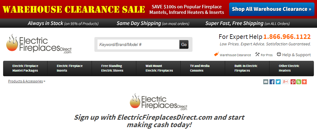 Electric Fireplaces Direct Affiliate Program