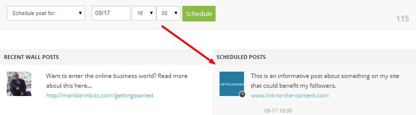 Scheduled post in AffiloTools