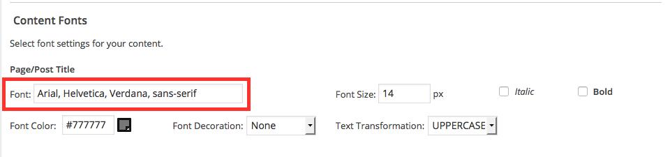 Affilotheme Font Field