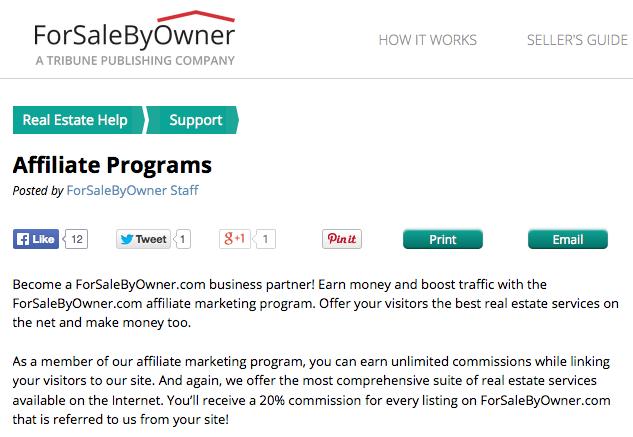 ForSaleByOwner.com  Real Estate Affiliate Programs