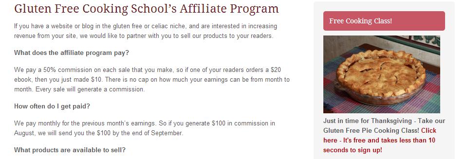 Gluten Free Cooking School Affiliate Program