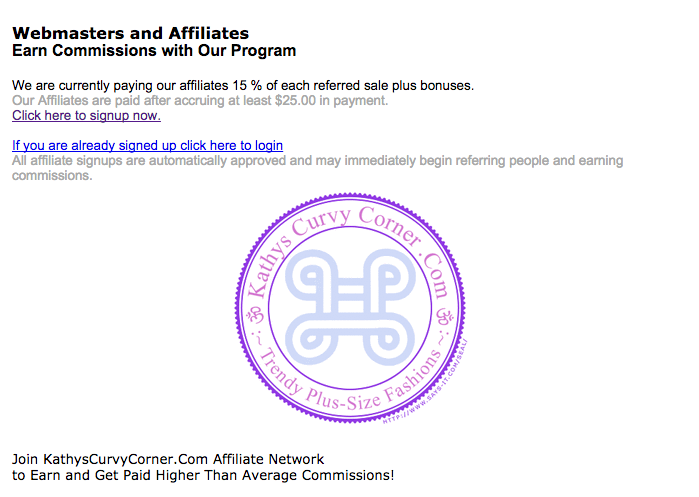 Kathy's Curvy Corner - Plus Size Affiliate Programs