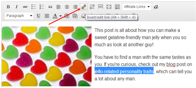 Adding anchor text in WordPress