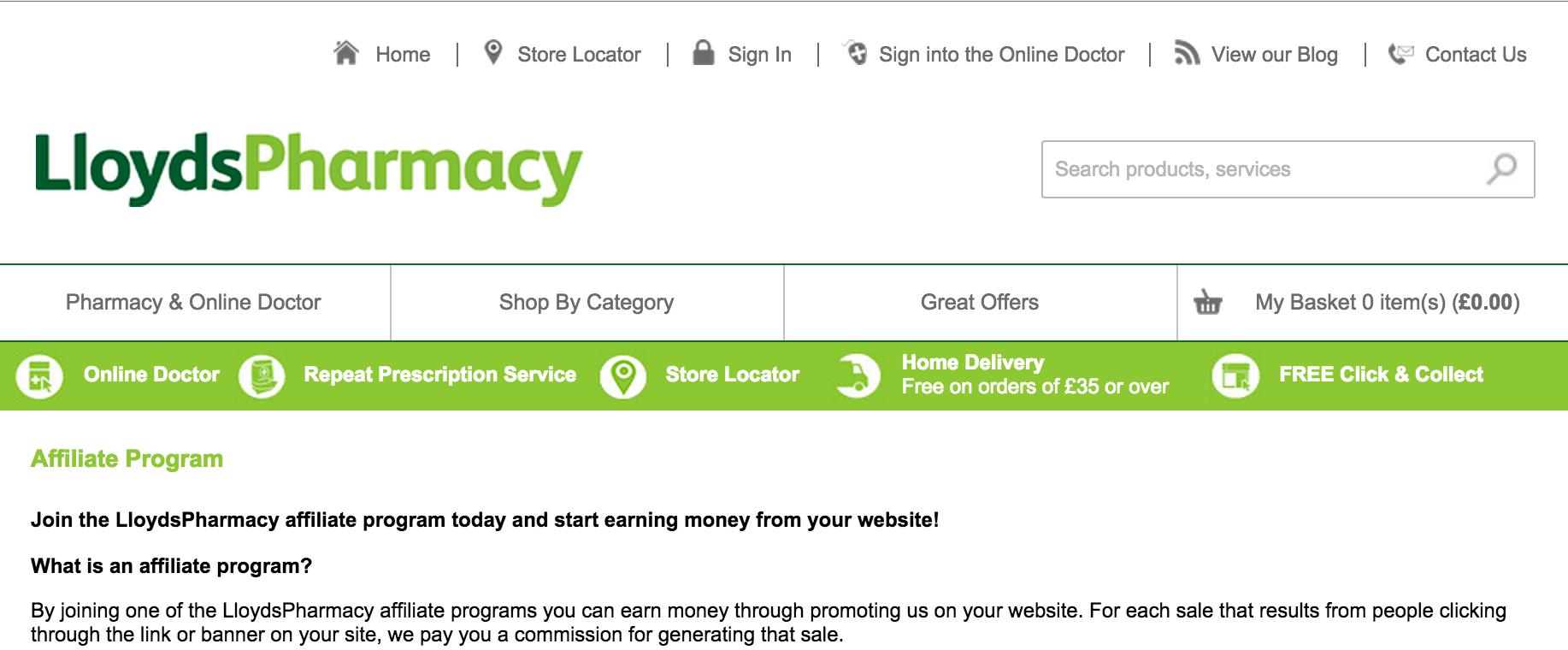 Lloyds Pharmacy - Pharmacy Affiliate Programs