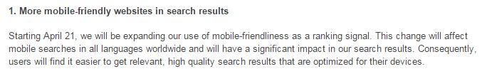 mobile friendliness announcement