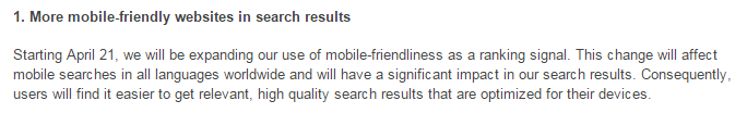 mobile friendliness announcement