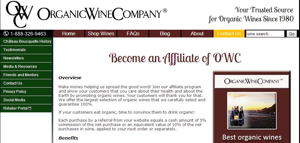 Organic Wine Company Affiliate Programs