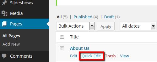 Pages - Quick Edit