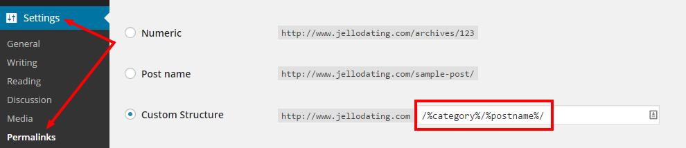 Permalink settings in WordPress