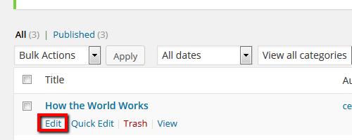 Posts > Edit - Wordpress