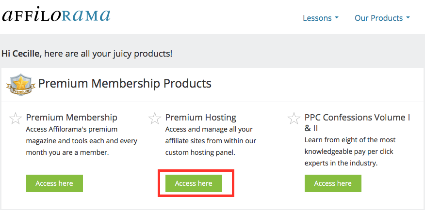 Premium Hosting Access