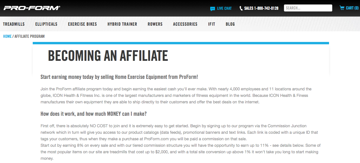 ProForm - Fitness Affiliate Programs