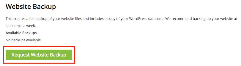 Request Website Backup