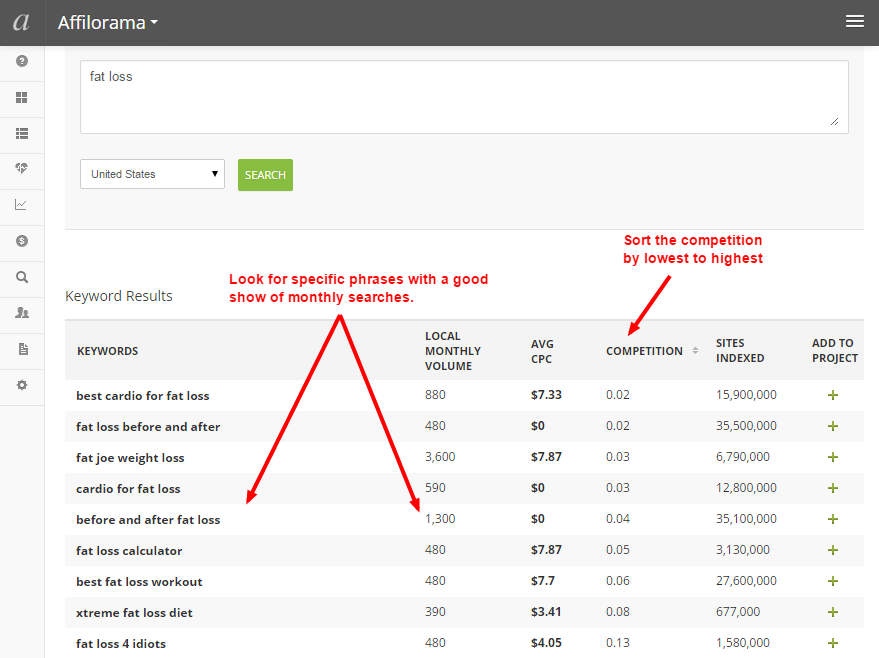 AffiloTools keyword research