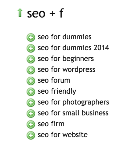 SEO F - Ubersuggest.org Results