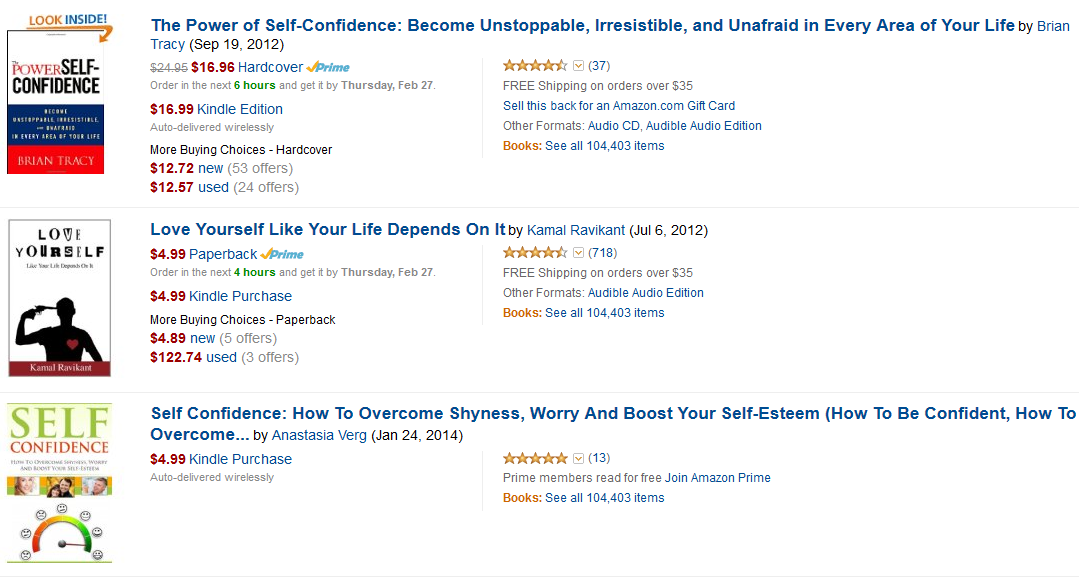 Self Esteem Affiliate Programs - Amazon