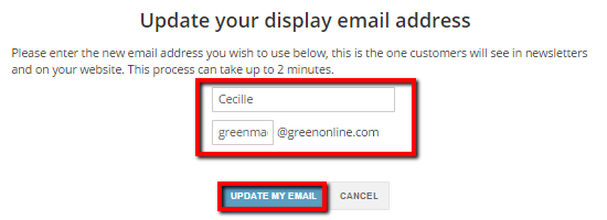 Settings Page - Update Email B