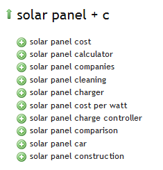 Solar Panel - Ubersuggest Results