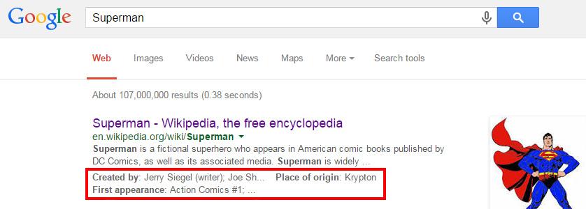 Superman Google search