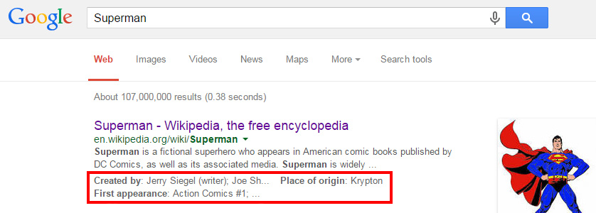 Superman Google search