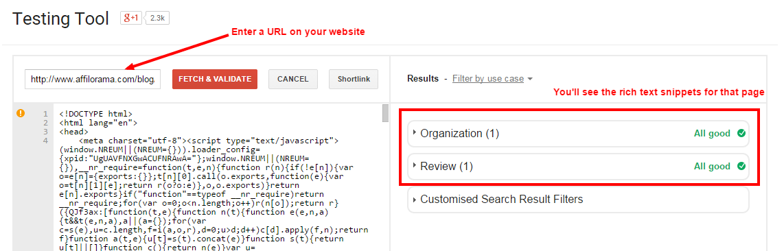 testing web page rich snippets