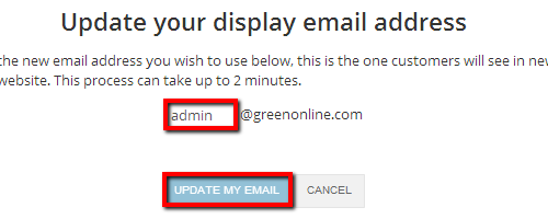 Update Email Button
