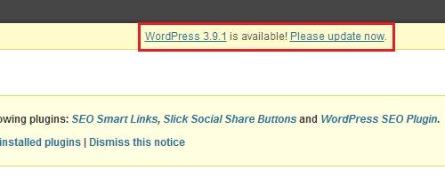 WP 3.9.1 Update - Dashboard