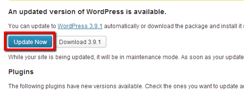 WP 3.9.1 Update Button
