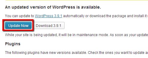 WP 3.9.1 Update Button