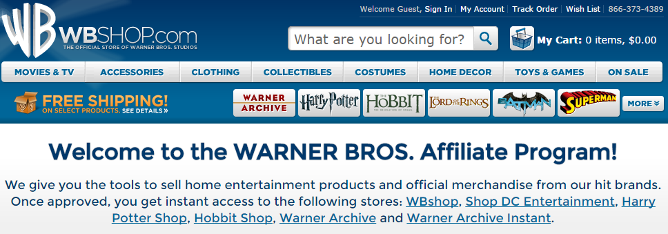 Warner Bros. - Movie Affiliate Programs